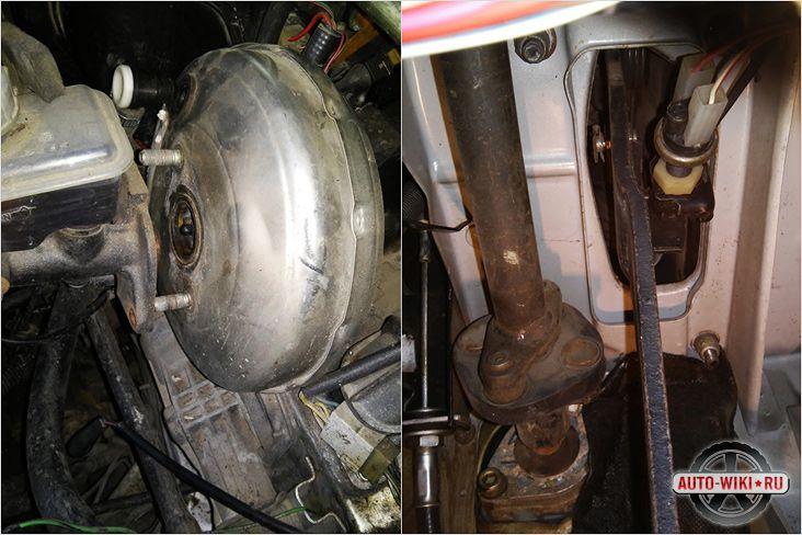 Откручиваем гайки крепления главного тормозного цилиндра и тормозной педали