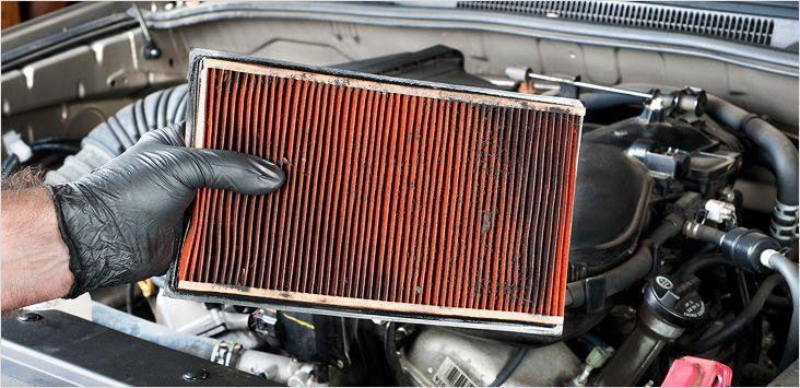 Грязный воздушный фильтр не обеспечивает достаточный приток воздуха